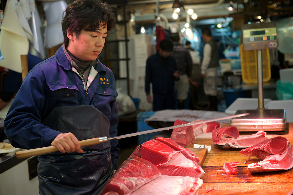The tuna quarters are cut by the means of large sword like knives. Tsukiji  Market. Tokyo, Japan 2013.
