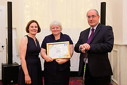 Lincolnshire Co-op long service awards 2018. Lincolnshire Co-op long service awards 2018. Lincolnshire Co-operative chief executive Ursula Lidbetter, left, and president Steve Hughes, right, present 25-year long service award to Helen Clarke (Checking Technician at Donnington Pharmacy)<br /> <br /> Picture: Chris Vaughan Photography for Lincolnshire Co-op<br /> Date: September 20, 2018