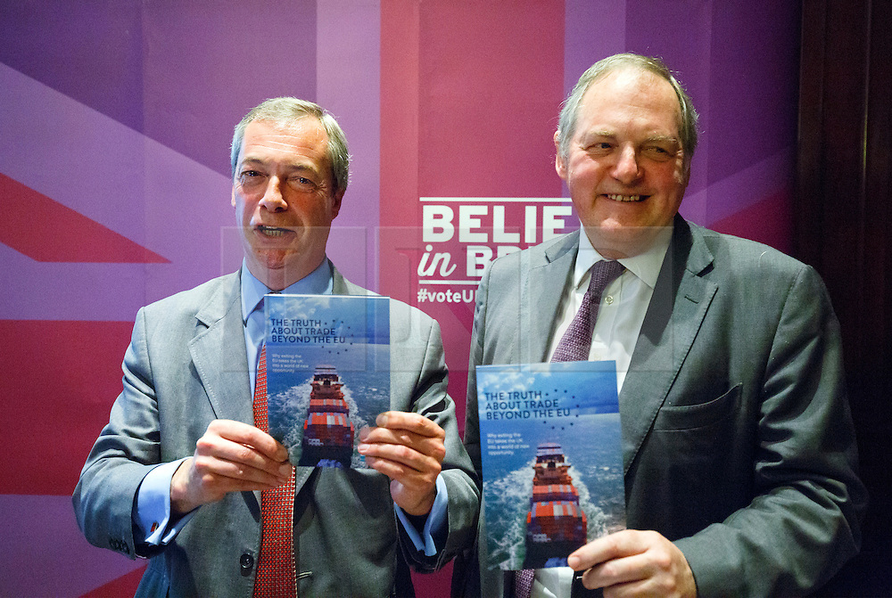 """© Licensed to London News Pictures. 17/06/2015. London, UK. UKIP leader NIGEL FARAGE and UKIP MEP William Dartmouth launching """"The Truth About Trade Beyond The EU"""" pamphlet in central London, on Wednesday, June 17, 2015. Photo credit: Tolga Akmen/LNP"""