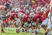 PALO ALTO, CA -  OCTOBER 25:  The Stanford University Cardinal offense waits for the snap during a PAC-12 NCAA football game against the Oregon State University Beavers played on October 25, 2014 at Stanford Stadium on the campus of Stanford University in Palo Alto, California.  Visible players include tight end Austin Hooper #84 (at far left); center Graham Shuler (hand on ball); lineman Joshua Garnett #51 (at right. with left hand down), and quarterback Kevin Hogan #8 (taking snap).  (Photo by David Madison/Getty Images) *** Local Caption *** Graham Shuler;Joshua Garnett;Kevin Hogan