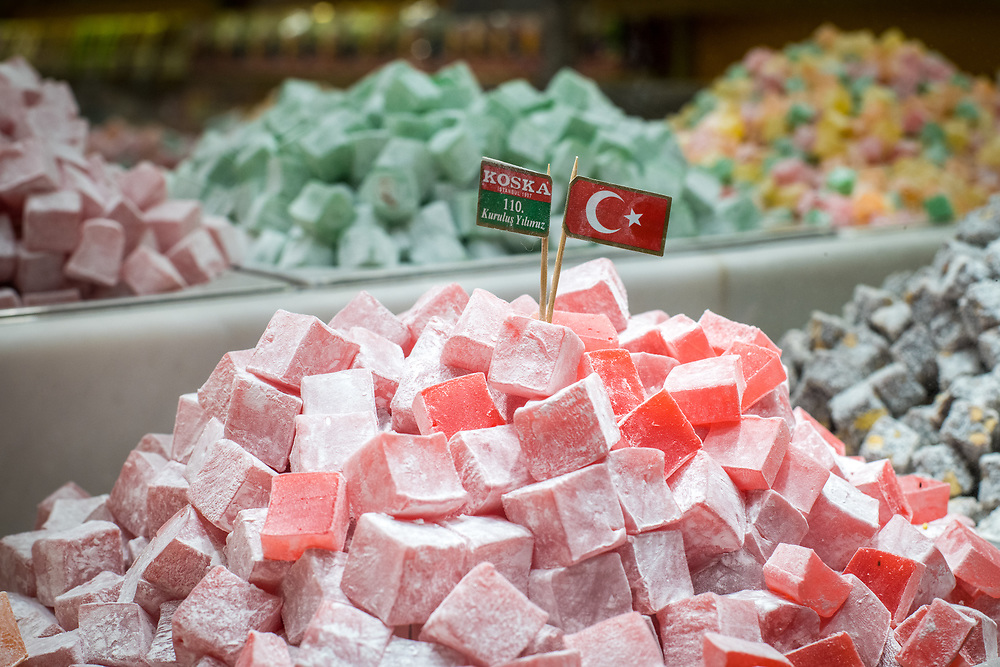 Mouthwatering Turkish delights are piled high, Istanbul, Turkey