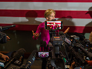 "16 NOVEMBER 2019 - WAVERLY, IOWA: US Senator ELIZABETH WARREN (D-MA), answers reporters' questions in the press ""gaggle"" after her campaign speech at Wartburg College. Sen. Warren campaigned at Wartburg College in Waverly Saturday afternoon. She is running to be the Democratic candidate for the US Presidency in the 2020 election. Iowa hosts the first selection event of the presidential election season. The Iowa caucuses are February 3, 2020.           PHOTO BY JACK KURTZ"
