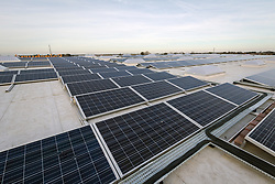 Solar thermal panels on the roof of the new Sainsbury's superstore, Thanet, Kent UK