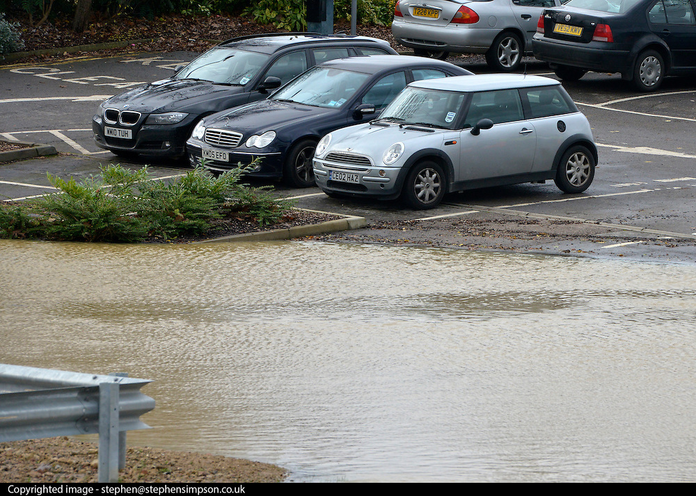 © Licensed to London News Pictures. 22/11/2012. Oxfordshire, UK The River Cherwell burst it's banks an flooded the Mill Arts Centre and adjoining car park in Banbury. Flooding in Oxfordshire today 22 November 2012. Heavy rain across large parts of the South West of the country has caused widespread flooding. Photo credit : Stephen Simpson/LNP