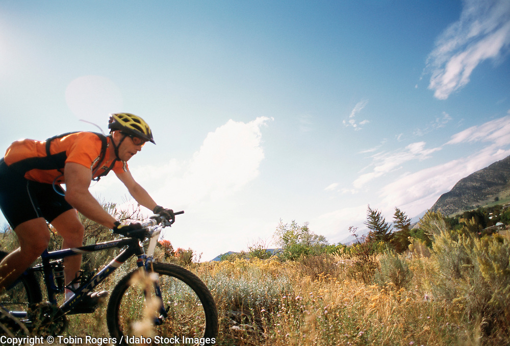 Idaho. Mountain biker with orange shirt rides down trail with blue sky above.