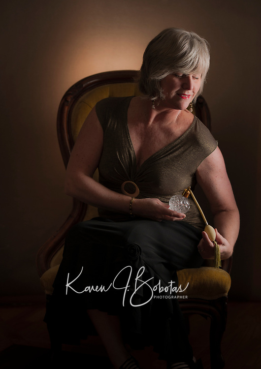Vintage mood self portraiture.  ©2017 Karen Bobotas Photographer
