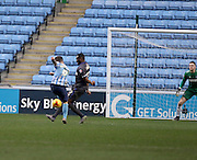 Coventry City Striker Adam Armstrong shoots during the Sky Bet League 1 match between Coventry City and Bury at the Ricoh Arena, Coventry, England on 13 February 2016. Photo by Chris Wynne.