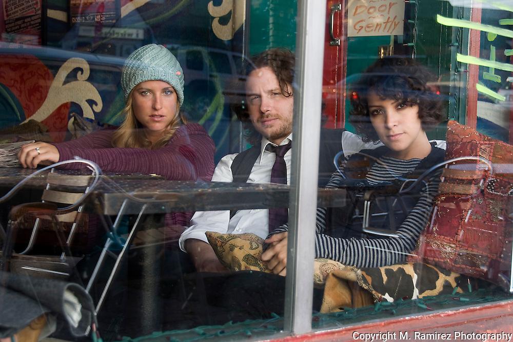 Gaby Moreno, Sebastian Aymanns & Leslie Lowe at Tsunami Coffeshop in Los Angeles, CA.