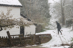 © Licensed to London News Pictures. 04/04/2019. Builth Wells, Powys, Wales, UK. A cottage at about 300 metres altitude gets hit by the blizzard  on the Mynydd Epynt range between Builth Wells and Brecon in Powys, UK. Photo credit: Graham M. Lawrence/LNP