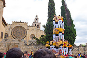 Castellers - Catalan human towers in Placa Octavia, Sant Cugat del Valles, bear Barcelona, Catalonia.