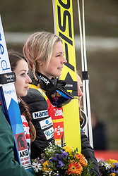 02.02.2019, Energie AG Skisprung Arena, Hinzenbach, AUT, FIS Weltcup Ski Sprung, Damen, Siegerehrung, im Bild v.l. Juliane Seyfarth (GER), Maren Lundby (NOR) // during the winner Ceremony of FIS Ski Jumping World Cup at the Energie AG Skisprung Arena in Hinzenbach, Austria on 2019/02/02. EXPA Pictures © 2019, PhotoCredit: EXPA/ Reinhard Eisenbauer
