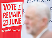 Jeremy Corbyn MP, Leader of the Labour Party, Tom Watson MP, Deputy Leader of the Labour Party and Angela Eagle MP, Shadow First Secretary of State and Shadow Secretary of State for Business, Innovation and Skills unveil a new poster from the Labour In for Britain campaign to Remain in the EU.<br /> 7th June 2016.<br /> Southbank, London, Great Britain <br /> <br /> <br /> <br /> Jeremy Corbyn <br /> <br /> <br /> <br /> <br /> Photograph by Elliott Franks <br /> Image licensed to Elliott Franks Photography Services