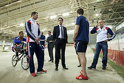 © Licensed to London News Pictures . 02/11/2012 . Manchester , UK . The leader of the Labour Party , ED MILIBAND (centre) , at the BMX track at the National Cycling Centre in Manchester , today (Friday 2nd November 2012) . Mr Miliband joins Lucy Powell who is standing for the constituency of Manchester Central in the city's upcoming by-election . Photo credit : Joel Goodman/LNP