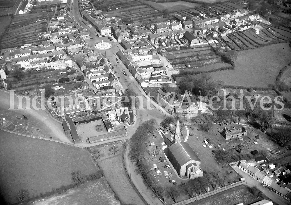 A245 Kilrea, Derry.   11/10/57. (Part of the Independent Newspapers Ireland/NLI collection.)<br /> <br /> <br /> These aerial views of Ireland from the Morgan Collection were taken during the mid-1950's, comprising medium and low altitude black-and-white birds-eye views of places and events, many of which were commissioned by clients. From 1951 to 1958 a different aerial picture was published each Friday in the Irish Independent in a series called, 'Views from the Air'.The photographer was Alexander 'Monkey' Campbell Morgan (1919-1958). Born in London and part of the Royal Artillery Air Corps, on leaving the army he started Aerophotos in Ireland. He was killed when, on business, his plane crashed flying from Shannon.