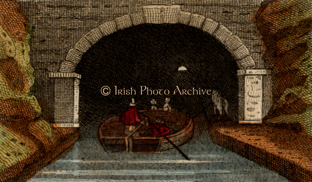 Entrance to the first Harecastle tunnel on the Grand Trunk (later Trent and Mersey) Canal. Built by the English civil engineer James Brindley (1716-1772) between 1770 and 1777. There was no towpath and the bargees had to leg their boats along the 2,880 yards (2,632.72 metres).  Closed after a partial collapse in 1914.   From 'Scenes in England' by the Rev. Isaac Taylor, London, 1822. Hand-coloured engraving.