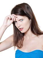 annoyed beautiful expressive woman on isolated white background