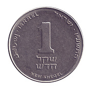 One New Israeli Shekel coin (ILS or NIS) on white background