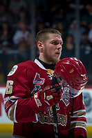 REGINA, SK - MAY 20: Olivier Galipeau #26 of Acadie-Bathurst Titan stands on the ice against the Regina Pats at the Brandt Centre on May 20, 2018 in Regina, Canada. (Photo by Marissa Baecker/CHL Images)
