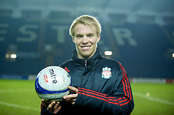 LEICESTER, ENGLAND - Tuesday, January 12, 2010: Liverpool's hat-trick hero Lauri Dalla Valle with the match ball after his three goals helped the Reds defeat Leicester City 5-1 during the FA Youth Cup 4th Round match at the Walkers Stadium. (Photo by David Rawcliffe/Propaganda)