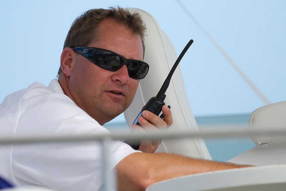 Commentator Scott Dickson during the quarter finals of the Argo Group Gold Cup 2010. Hamilton, Bermuda. 9 October 2010. Photo: Subzero Images/WMRT
