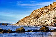 Coastal clay cliffs and rock formations, Gay Head, Aquinnah, Martha's Vineyard, Massachusetts, USA.