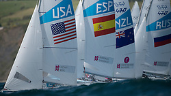 2012 Olympic Games London / Weymouth<br /> 470 men race course<br /> The fleet after the start