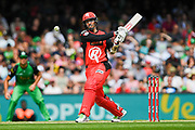 17th February 2019, Marvel Stadium, Melbourne, Australia; Australian Big Bash Cricket League Final, Melbourne Renegades versus Melbourne Stars; Tom Cooper of the Melbourne Renegades pulls the ball through the on side