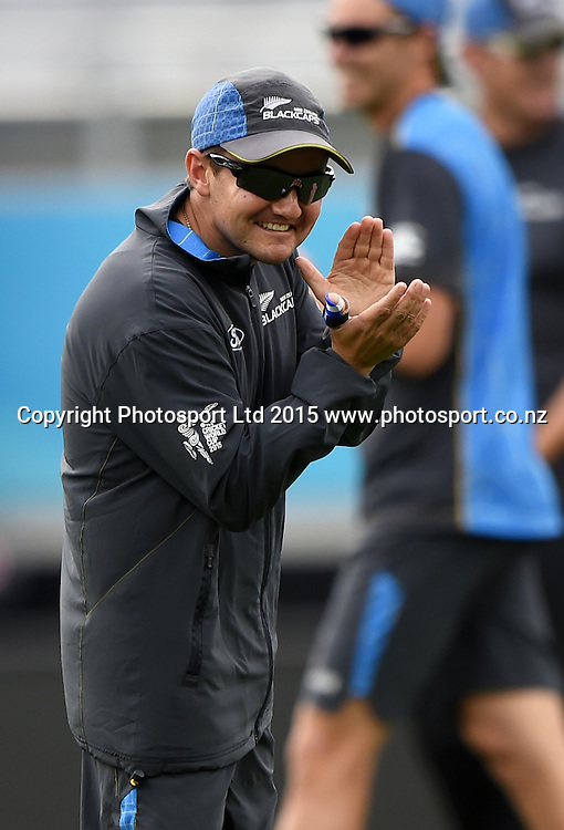 New Zealand coach Mike Hesson during training at Eden Park in Auckland ahead of the semi final Cricket World Cup match against South Africa tomorrow. Monday 23 March 2015. Copyright photo: Andrew Cornaga / www.photosport.co.nz