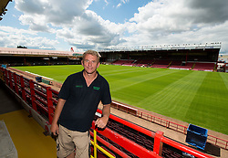 Head Groundsman Craig Richardson, proudly stands above the new Ashton Gate pitch - Photo mandatory by-line: Joe Meredith/JMP - Mobile: 07966 386802 28/07/2014 - SPORT - FOOTBALL - Bristol - Ashton Gate - Wedlock Stand Demolition