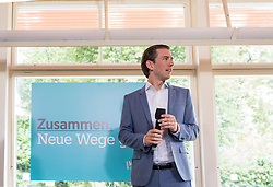 "07.07.2017, Volksgarten, Wien, AUT, ÖVP, Neues von der Bewegung ""Liste Kurz - Die neue Volkspartei"". im Bild Außenminister Sebastian Kurz // Austrian Foreign Minister Sebastian Kurz during media conference of the austrian peoples party in Vienna, Austria on 2017/07/07. EXPA Pictures © 2017, PhotoCredit: EXPA/ Michael Gruber"