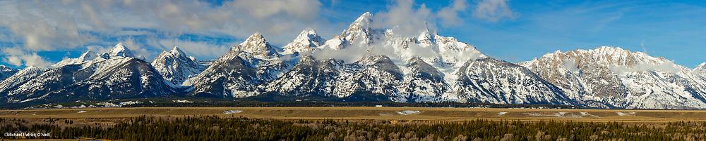 Panorama of the Grand Teton Mountain Range in Grand Teton National Park, Wyoming, United States.