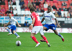 LONDON, ENGLAND - Saturday, October 8, 2011: Tranmere Rovers' Lucas Akins and Charlton Athletic's Rhoys Wiggins during the Football League One match at The Valley. (Pic by Gareth Davies/Propaganda)
