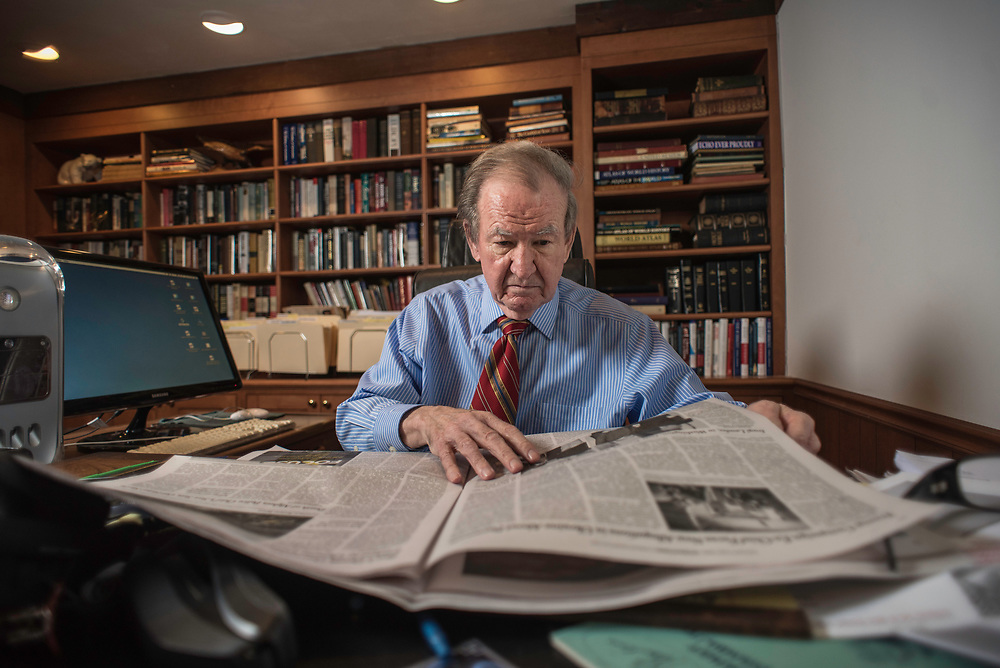 MCLEAN, VA -- 3/21/17 -- Buchanan reads five newspapers front-to-back everyday. Respected conservative commentator Pat Buchanan reflects on his career at his home in McLean. .…by André Chung #_AC24000