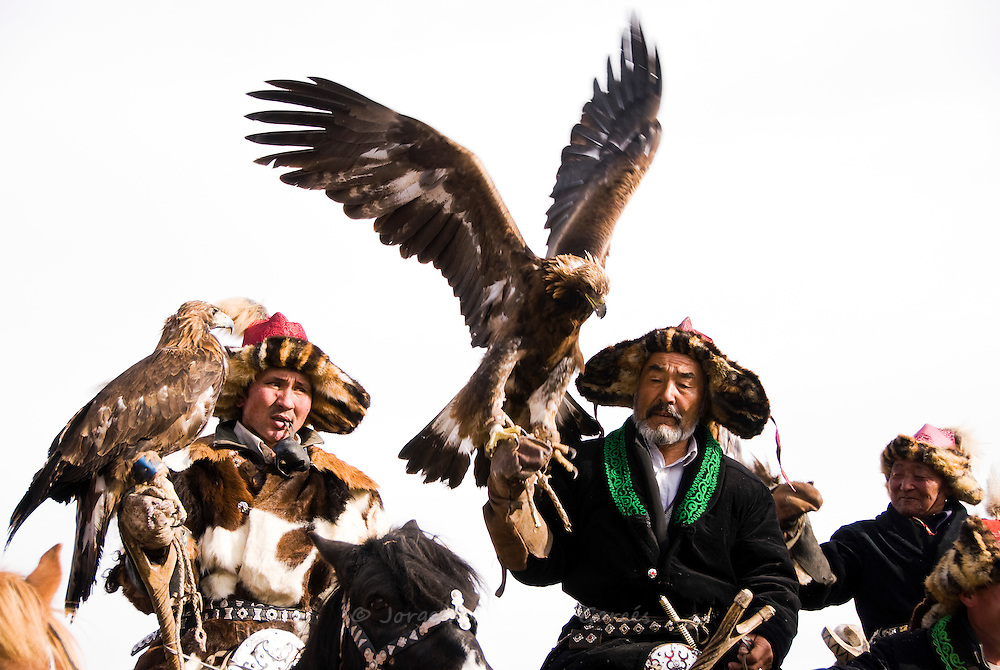 Eagle-Hunters at the Bayan-Olgii eagle hunting festival. Western Mongolia.