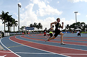 Jun 23, 2019; Miramar, FL, USA; Matthew Boling wins 200m heat in 20.30 for the top time during the USATF U20 Championships at Ansin Sports Complex.
