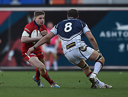 Bristol Rugby full back Auguy Slowik faces off against Yorkshire Carnegie's number 8 Jarad Williams - Photo mandatory by-line: Paul Knight/JMP - Mobile: 07966 386802 - 18/01/2015 - SPORT - Rugby - Bristol - Ashton Gate Stadium - Bristol Rugby v Yorkshire Carnegie - Greene King IPA Championship