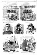 Execution by hanging of the Lincoln conspirators, from a photo by Gardner. Condemned to hang: Mrs. Surratt, Payne, Harold and Atzerott.  Also an illustration of  Mrs Surratt's house at 541 8th St. Washington DC. Harper's Weekly, Sat July 22, 1865