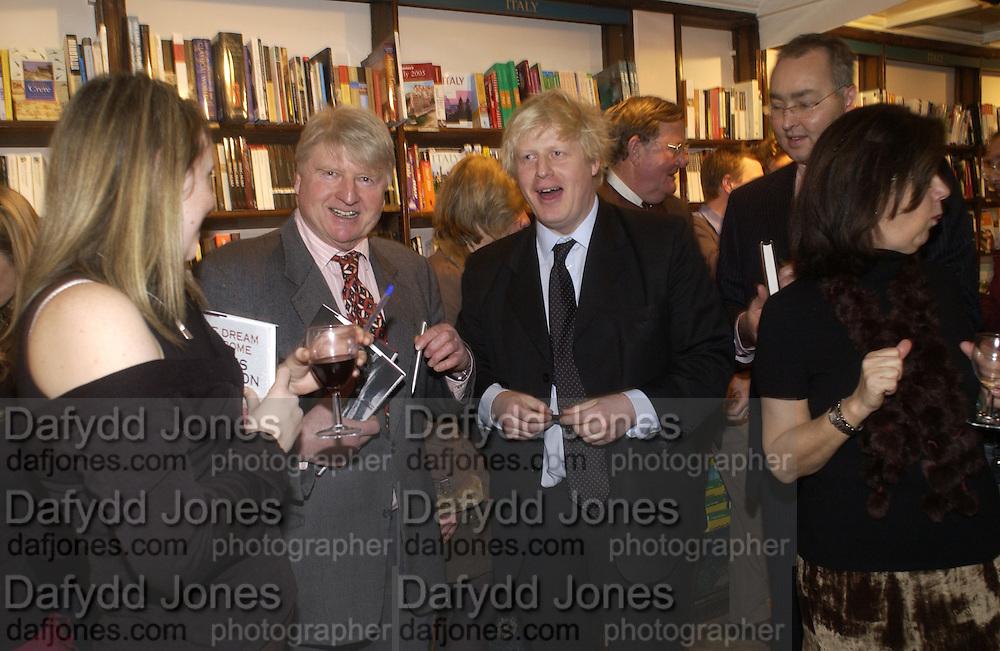Stanley Johnson and Boris Johnson, Book party for 'The Dream of Rome' by Boris Johnson. Daunts bookshop. Marylebone High St. London.  1 February 2006. -DO NOT ARCHIVE-© Copyright Photograph by Dafydd Jones 66 Stockwell Park Rd. London SW9 0DA Tel 020 7733 0108 www.dafjones.com