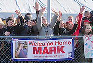 Families wave to sailors aboard the Type 23 frigate HMS Richmond as it returns to Portsmouth Royal Navy Base following a seven-month deployment to the South Atlantic. Picture date: Friday 21st February, 2014. Photo credit should read: Christopher Ison. Contact chrisison@mac.com 07544044177