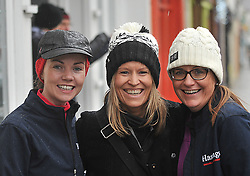 Kelly Walsh with Trish and Maureen O'Hagan at the Streets of Westport 5K run on New Year's Day.<br /> Pic Conor McKeown