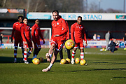Josh Payne of Crawley Town warms up during the EFL Sky Bet League 2 match between Crawley Town and Macclesfield Town at The People's Pension Stadium, Crawley, England on 23 February 2019.
