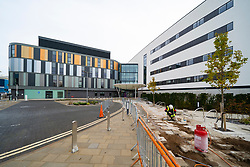 Exterior view of the new controversial unfinished and much-delayed NHS Royal Hospital for Children and Young People in Edinburgh, Scotland, UK