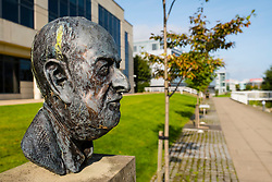 Bust of Scottish Poet and Writer Tom Leonard at Edinburgh Park a modern business park at South Gyle in Edinburgh, Scotland, United Kingdom.
