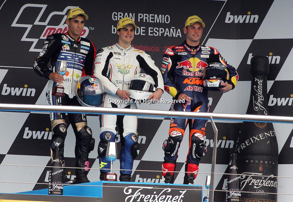 29.04.2012. Jerez, Spain. Gran Premio Bwin de España. Moto 3. Picture shows podium shot of Luis Salom (ESP),   Romano Fenati (ITA) and Sandro Cortese (GER)