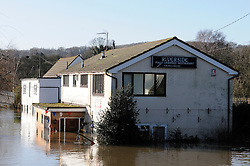 © Licensed to London News Pictures. 26/12/2013<br /> Riverside restaurant in Wateringbury flooded out.<br /> Bow Bridge Marina on Bow Hill,Wateringbury in Kent .The river Medway Bursts its banks flooding property.<br /> Boxing day flooding in Kent.<br /> Large parts of Kent are still flooded due to heavy rain with more bad weather expected.<br /> Photo credit :Grant Falvey/LNP