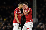 Rudy Gestede (14) of Middlesbrough and Dael Fry (6) of Middlesbrough during the EFL Sky Bet Championship match between Fulham and Middlesbrough at Craven Cottage, London, England on 17 January 2020.