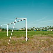Football field.Poble Nou del Delta.Ebro mouth.Tarragona .Catalonia.Spain.