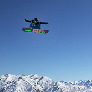 Charlotte Van Gils, The Netherlands, in action during the Snowboard Slopestyle Ladies competition at Snow Park, New Zealand during the Winter Games. Wanaka, New Zealand, 21st August 2011. Photo Tim Clayton