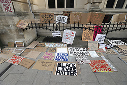 © Licensed to London News Pictures. 09/06/2020. Oxford, UK. Campaigners banners and placards are placed outside Oriel College at Oxford University, where they are calling for the removal of a statue of controversial imperialist Cecil Rhodes. Black Lives Matter protesters recently pulled down a statue of slave trader Edward Colston in Bristol town centre, following the death of George Floyd in the USA . Photo credit: Peter Macdiarmid/LNP