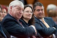 """14 SEP 2010, BERLIN/GERMANY:<br /> Michael Sommer (L), DGB Bundesvorsitzender, Andrea Nahles (M), SPD Generalsekretaerin, und Sigmar Gabriel (R), SPD Parteivorsitzender, SPD Veranstaltung """"Die Finanztransaktionssteuer: Ursachen der Krise bekaempfen - Verursacher an den Kosten beteiligen"""", Willy-Brandt-Haus<br /> IMAGE: 20100914-01-032<br /> KEYWORDS: Konferenz, Finanzmarkt"""